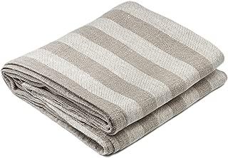 BLESS LINEN Jacquard Striped Pure Linen Bath Towel, 30 x 58 Inches, Grey/White