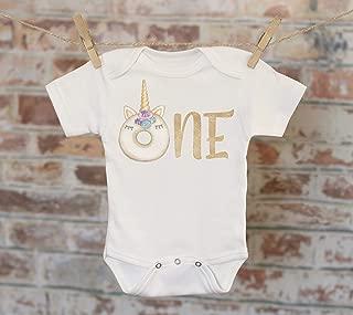 One Donut Unicorn Onesie®, First Birthday Onesie, Customized Onesie, Cute Onesie, Boho Baby Onesie, Woodland Style Onesie