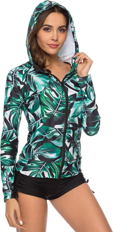 Caracilia Women Long Sleeve Rashguard Swim Shirt UPF 50+ Rash Guard Swimsuit Top