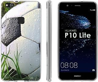 Huawei P10 Lite TPU Silicone Phone Case [Mobiflare] [Clear] Ultraflex Thin Gel Phone Cover - [Soccer Ball] for Huawei P10 Lite [5.2