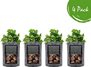 Grow Bags 10 Gallon 4 Pack l Garden Planting Smart Pots I Fabric Pots for Tomato and Planters I Natural Aeration for Growing Healthy Potato Vegetables and Plants l Heavy Duty for Nursery Gardening