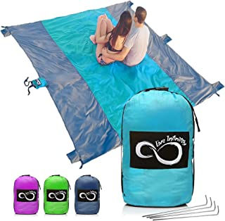 Live Infinitely Sand Free Beach Blanket- 7 Person 9' x 10' Sand Proof Mat – Travel Friendly for Festivals & Hiking- Extremely Soft Quick Drying Heat Resistant Nylon- Weighable Pockets +