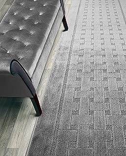 Custom Length Hallway Runner Rug,Slip Resistant,Labyrinth Grey, 26 Inch X 9 feet, Sold and Priced Per Foot