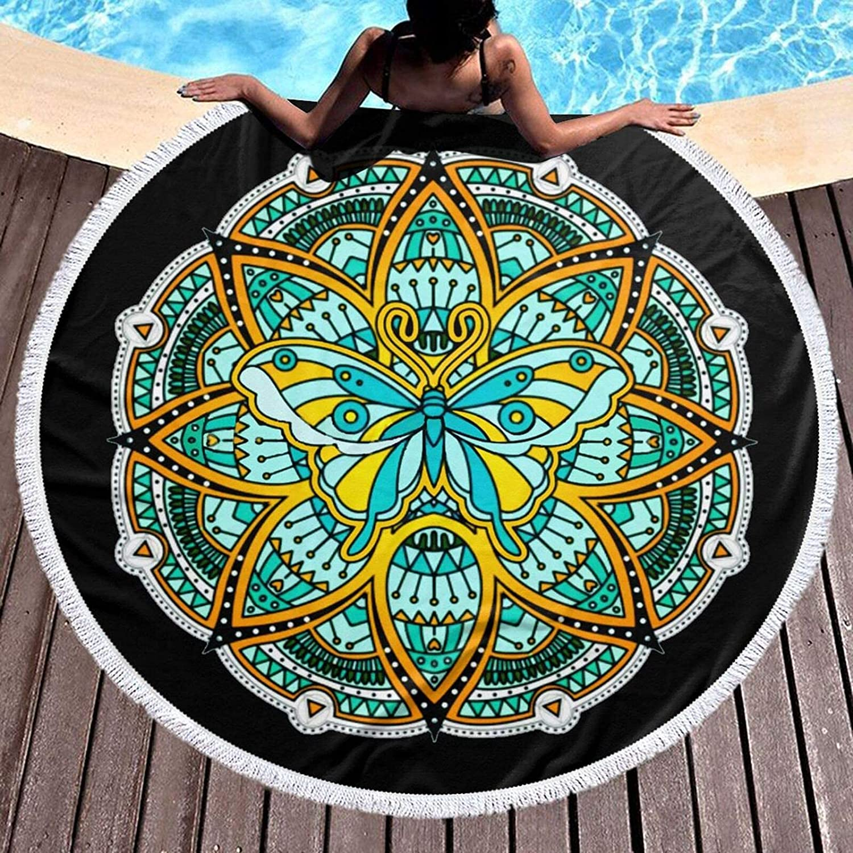 New Shipping Free HAOHAO Round Beach Towel Butterfliy Ranking TOP11 Dry Towe Mandala Quick