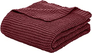 AmazonBasics Knitted Chenille Throw Blanket - 60 x 80 Inches, Bordeaux