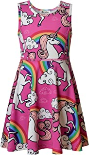 Jxstar Girls Unicorn Dress Mermaid Dresses Kids Twirl Swing Party Outfits