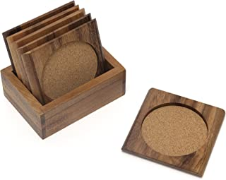 Lipper International 1035 Acacia Square with Cork Coasters and Caddy, 7-Piece Set