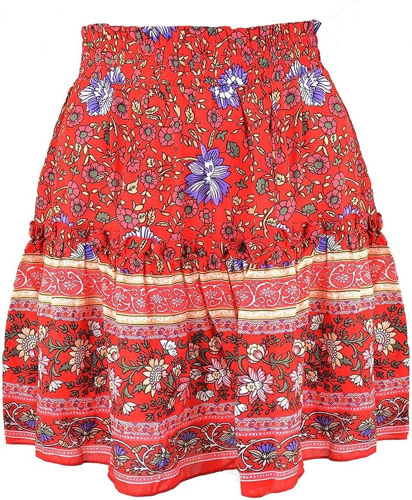 yUhe2018Cw Women's Bohemian Asymmetrical Ruffles High Waist Printed Cute Casual Mini Skirt