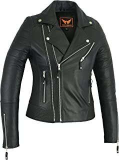 A&H Apparel Women Motorcycle Genuine Sheep Lightweight Leather Jacket Casual