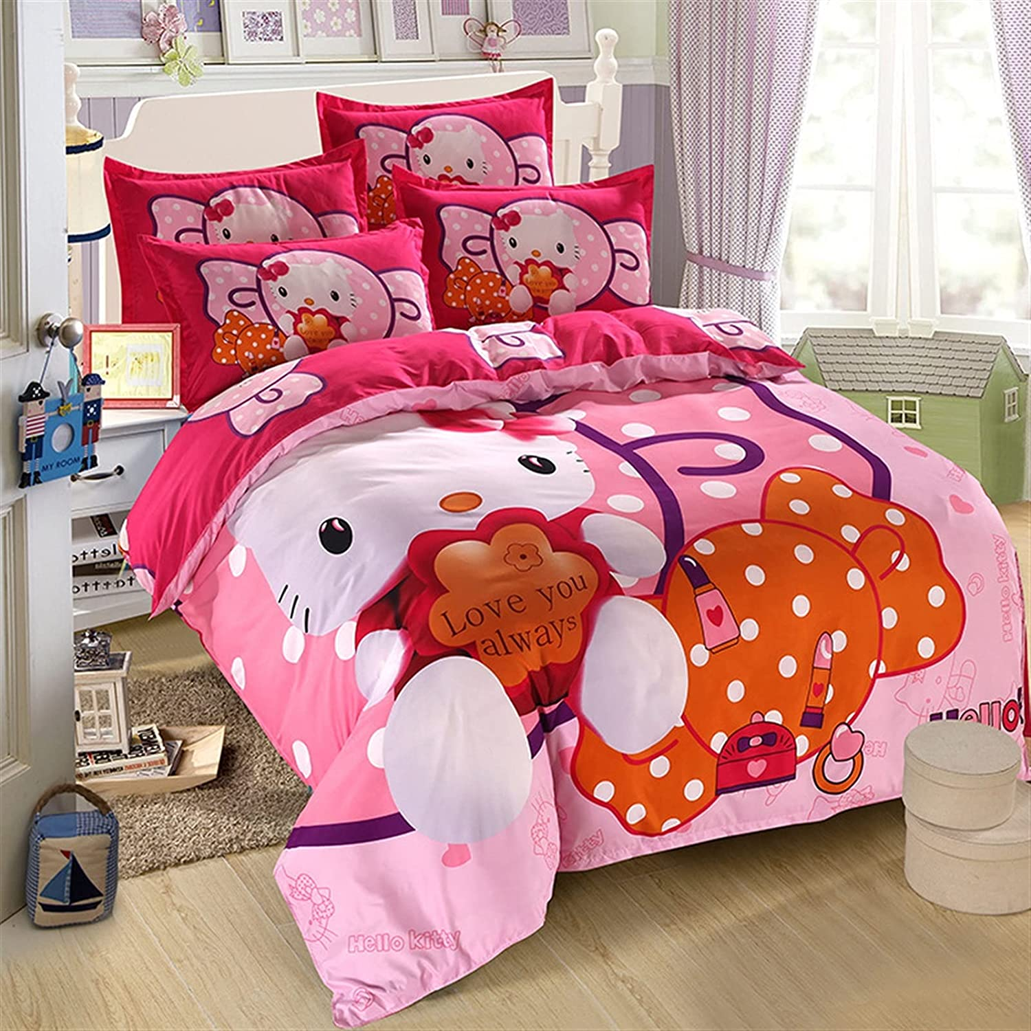 LIskybird Excellent Cartoon Mickey Over item handling Mouse Bed Single Set Four Princess