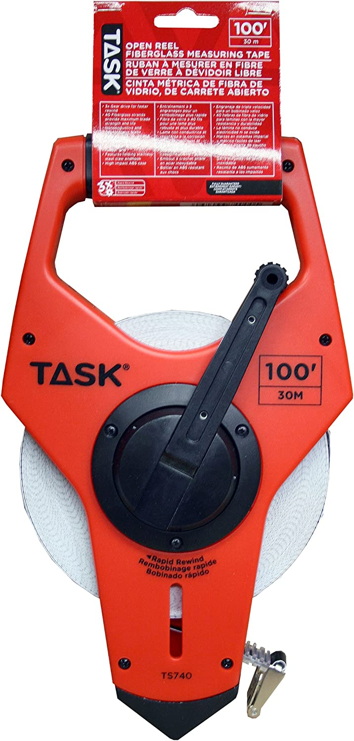 Task Tools TS740 100-Feet Open New product with Tape online shopping Reel Fiberglass Measure