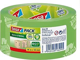 tesa UK Tesa 58156 100% Recycled Ecologo Printed Packaging Tape, 50Mm X 66M, Green