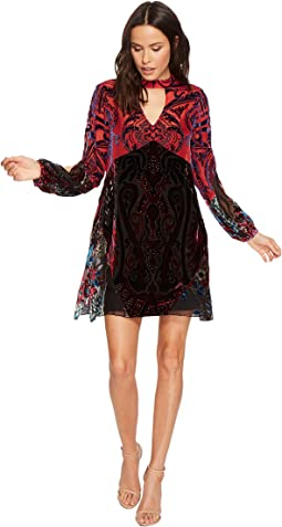 Hale Bob - Creative License Silk with Burnout Velvet Split Sleeve Dress