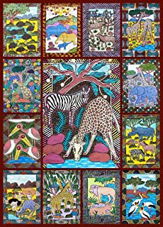 Hennessy Puzzles African Animals Jigsaw Puzzle - 1000 Piece - Bright, Colorful Puzzle Featuring Wild Animals & Zimbabwe Wa...
