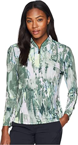 Galleria Print Sunsense® 1/4 Zip Long Sleeve Top with 50 UVP