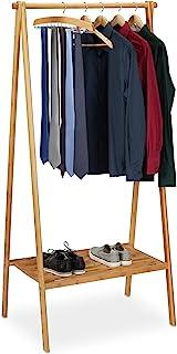 Relaxdays Portant pliable bambou, penderie porte vêtements, tringle rangement dressing, étagère, HLP 170x83x56cm, nature, ...
