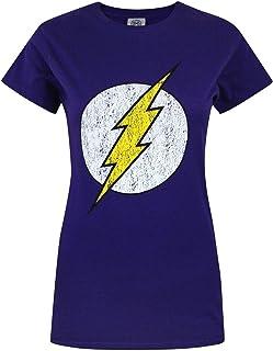 Flash - Camiseta con Logo de Estilo Desgastado para Mujer