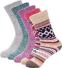 5 Pairs Warm Socks For Womens, SIMIYA Women Screw Socks,Warm Wool Socks, Thick Winter Socks Women(US Size 5-8)