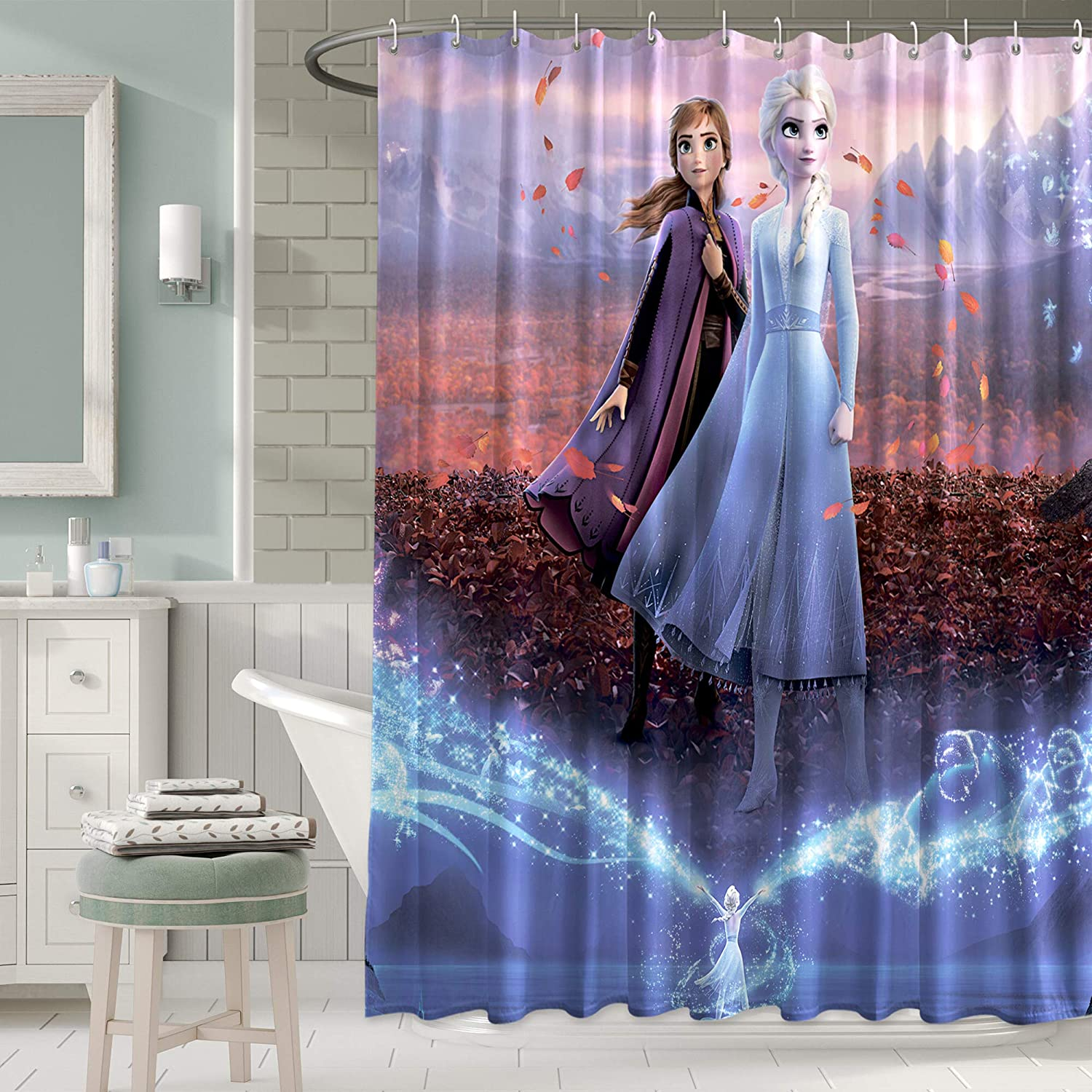 72 inches PntBab Disney Froz/_en Sister Els/_a /& an/_na Fabric Shower Curtain with Hooks for Girls Bathroom Shower Curtain Set