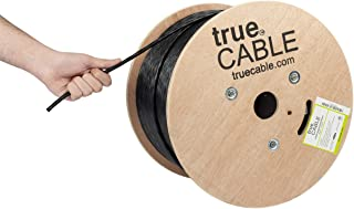 trueCABLE Cat6A Riser (CMR), 1000ft, Black, 23AWG 4 Pair Solid Bare Copper, 750MHz, ETL Listed, Unshielded Twisted Pair (UTP), Bulk Ethernet Cable