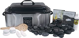 Signature Hot Stone & Cold Stone Massage Kit with 18 Quart Digital Stone Warmer by NRG - Set of 50 Deluxe Massage Stones, 6 Marble Body Stones, DVD and Lotus Touch Organic Naturals Massage Oil 8 oz.