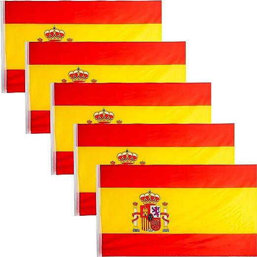 JEVX Banderas de España 90x60cm 5 Unidades para Colgar en Mastil Bandera Española con Escudo Nacional para Uso Exterior e Interior Bordes Reforzados: Amazon.es: Jardín