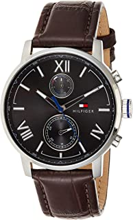 Tommy Hilfiger 1791309 Stitched-Detail Leather Round Analog Water Resistant Watch for Men - Brown