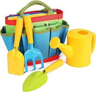Kids Gardening Tools Set for Kids with Watering Can, Shovel, Rake, Trowel, All in One Gardening Tote