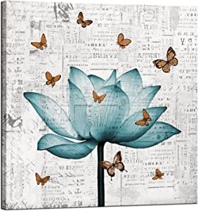 LevvArts Vintage Flower Canvas Wall Art Antique Teal Lotus with Butterflies Painting Picture Prints for Bedroom Farmhouse Wall Decor Zen Floral Artwork Framed Ready to Hang 24x24