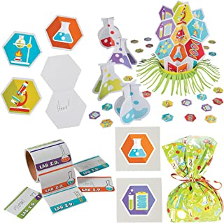 Fun Express Science Party Bundle | Table Decor Kit, Treat Bags, Name Tags, Temporary Tattoos, Notepads | Great for Themed Events, Birthday Celebrations, Science Fairs
