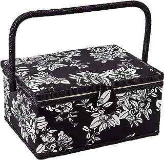 D&D 経典裁縫箱 黒白古典花柄の布 木製工芸収納ボックス ソーイングバスケット 家庭用 27.5*17.5*15cm