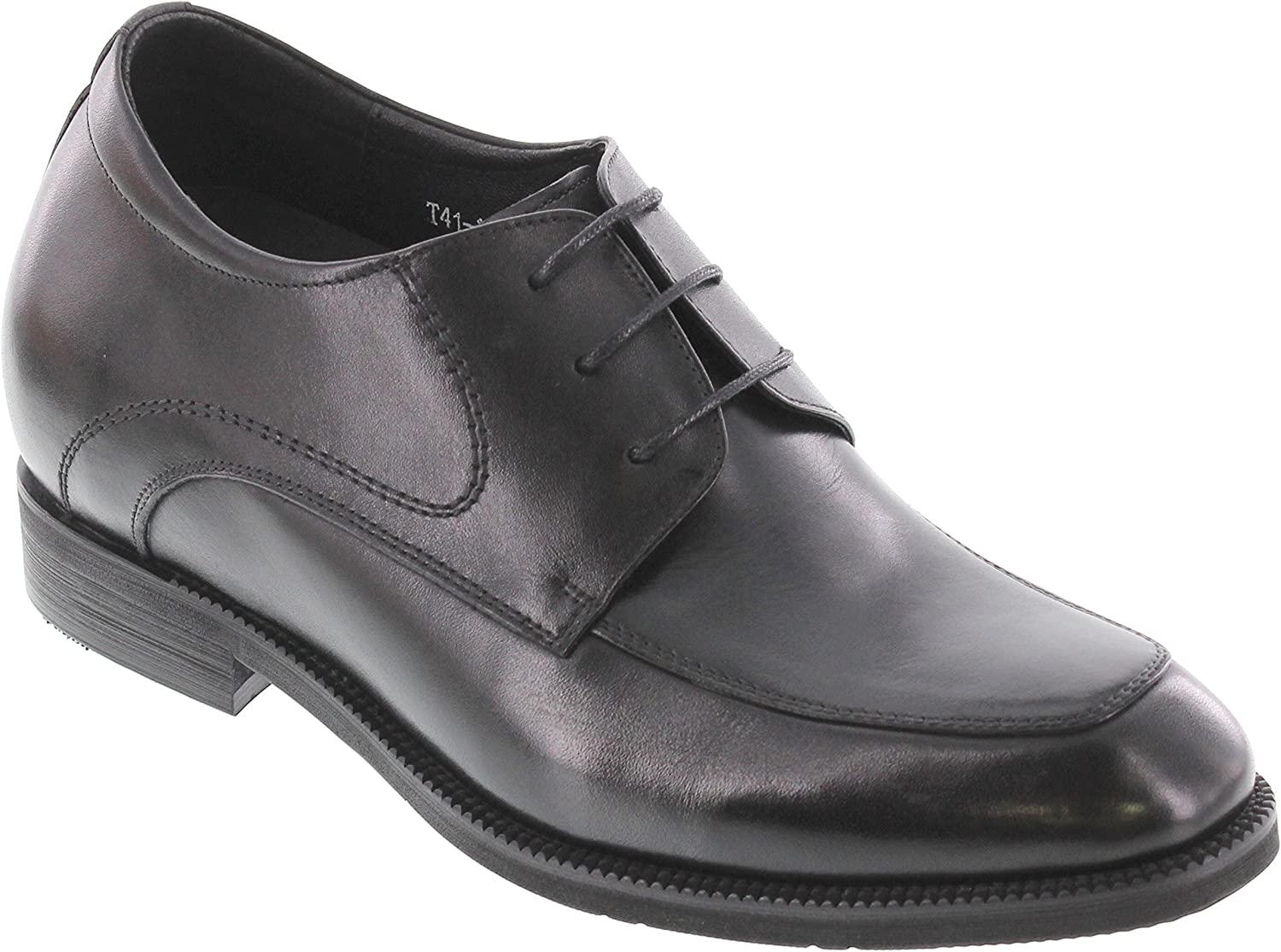 CALTO Men's Invisible Height Increasing Elevator shoes - Black Premium Leather Lace-up Formal Oxfords - 3 Inches Taller - T4101