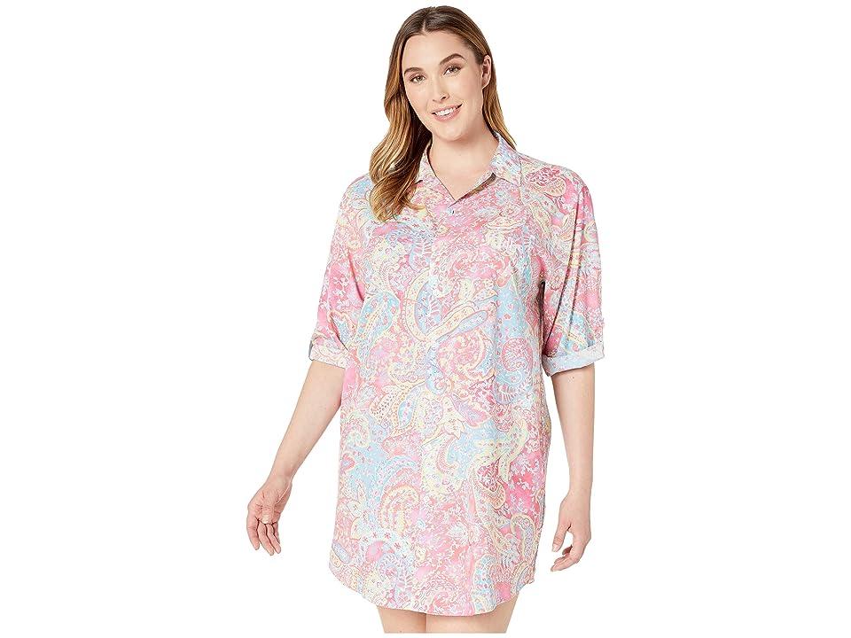 LAUREN Ralph Lauren Plus Size 3/4 Roll Tab Sleeve His Shirt Sleepshirt (Pink Paisley Print) Women