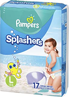 Swim Diapers Size 5 (> 31 lb), 17 Count - Pampers Splashers Disposable Swim Pants, Large