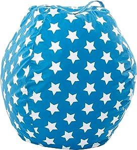 Loft Sitzsack mit Tragegriff, groß, Bedruckt, Blau mit Sternen Bewahren Sie Ihre Stofftiere ordentlich auf.