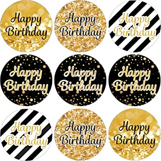 Happy Birthday Party Favor Labels - Black and Gold - 180 Stickers