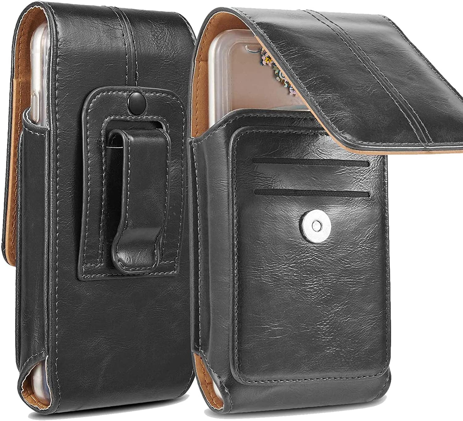 suily Leather Phone Holster, [Upgraded] Large Size Phone Belt Holster with Additional Card Slot for iPhone Xs/8 Plus/7 Plus/ 6 Plus/Galaxy S10/S9/Note8 (Black 2)