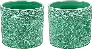 MyGift 4-Inch Aqua Green Ceramic Floral Embossed Succulent Planter Pots, Set of 2