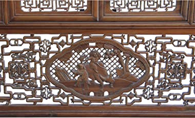 Chinese Vintage Wood Oriental Carving Wall Panel Window Screen Aws828