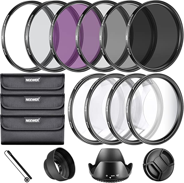 Neewer 67MM Kit Accesorios para Filtros de Objetivos para Lentes 67mm Set Filtros UV CPL FLD + Set de Primer Plano Macro (+1 +2 +4 +10) + Set Filtros ND (ND2 ND4 ND8) + Otros