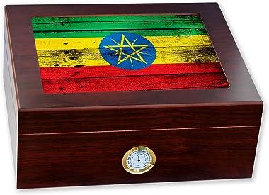 ExpressItBest Premium Desktop Humidor - Glass Top - Flag of Ethiopia (Ethiopian) - Wood Design - Cedar Lined with humidifier