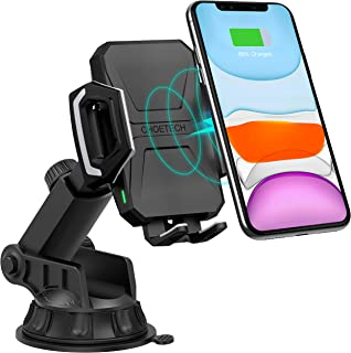 CHOETECH Wireless Car Charger, 10W/7.5W Qi Wireless Fast Charging Car Mount, USB-C Dashboard Phone Holder Compatible with iPhone 11/11 Pro/11 Pro Max/XS/XS Max/X/8/8+, Samsung Note10/S10/S10+/S9/S9+