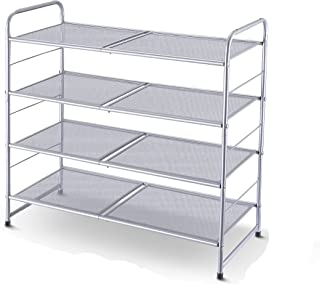 Simple Trending 4-Tier Stackable Shoe Rack, Expandable & Adjustable Shoe Shelf Storage Organizer, Metal Mesh, Silver