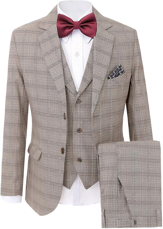 Wemaliyzd Mens British Checkered 3 Piece Business Suit Two Buttons Blazer Jacket Vest Pants