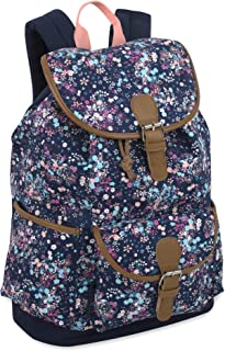 Pattern Drawstring Backpack with Buckle for Women and Girls with Water Bottle Holder (Floral Dream)