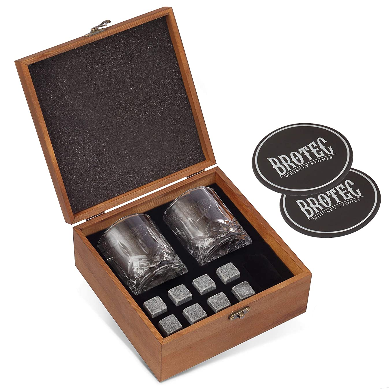 Whiskey Stones Gift Set - 8 Granite Chilling Whisky Rocks - 2 Large Crystal Whiskey Drinking Glasses - 2 Coasters in Handmade Wooden Box – Premium Bar Accessories for the Best Tasting Beverages