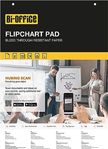 Bi-Office - Lot de 5 Blocs de Papier pour Chevalet de Conférence, A1, 20 feuilles lisses, 55g/m² FL012203