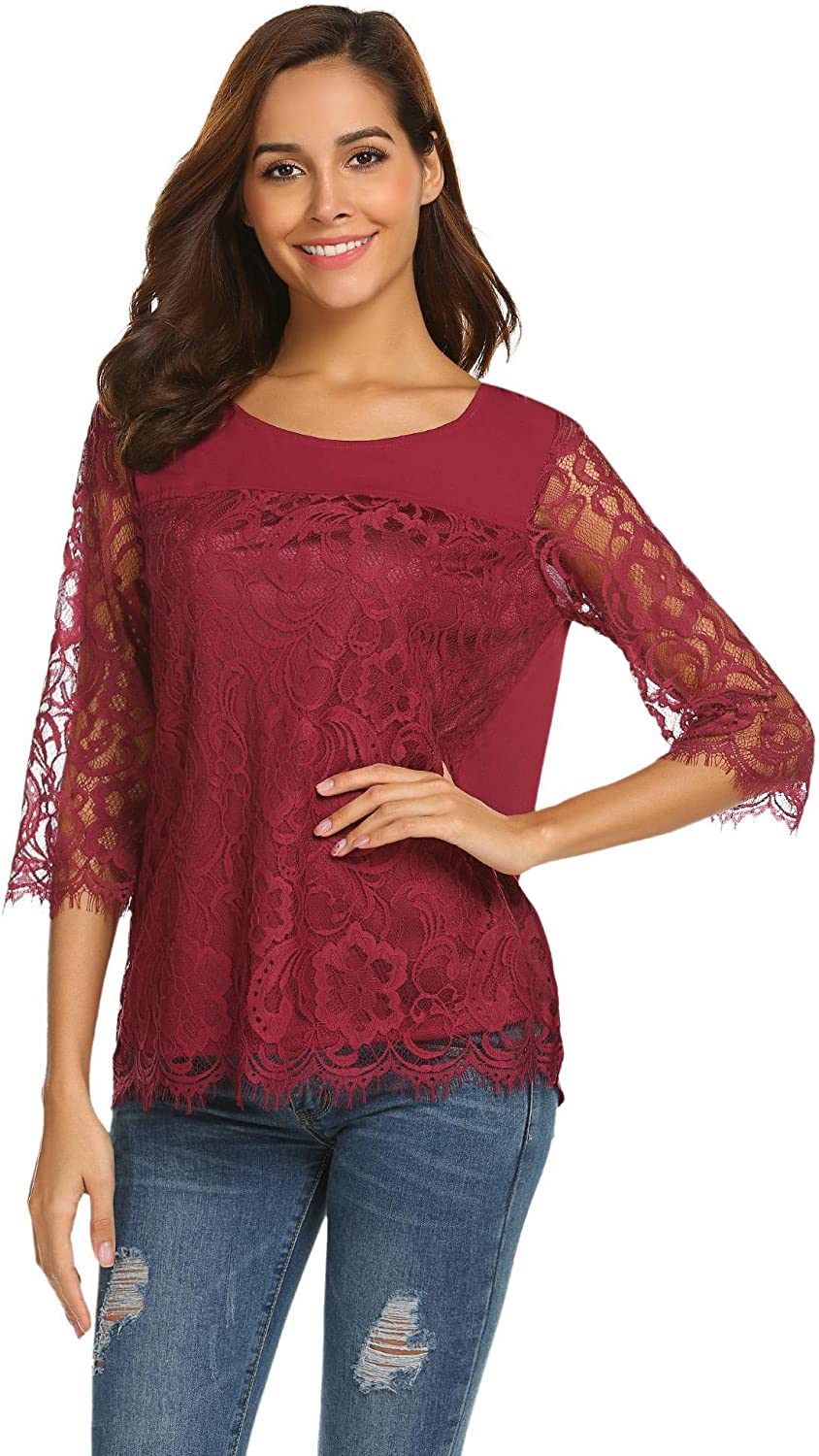 Gfones Women Casual Floral Lace Shirt Round Neck 3 4 Sleeve Blouse Tops