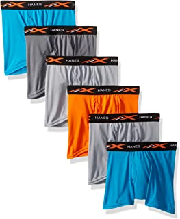 Hanes Boys' X-Temp Performance Cool Dyed Boxer Brief 6-Pack