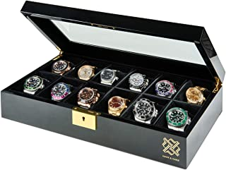HAWK & GABLE Pearson Premium 12 Slot Watch Box Organizer for Men with Gold Lock and Glass Display   Watch Case for Men's J...